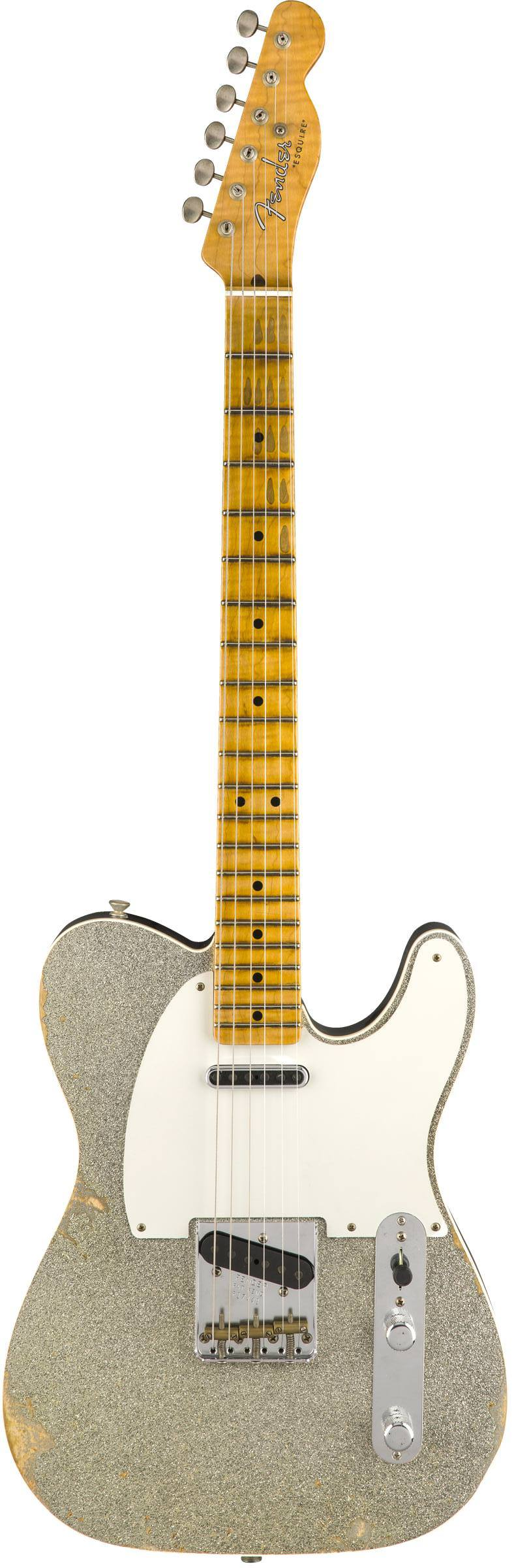 FENDER 2018 LTD RELIC® DOUBLE ESQUIRE® `SPECIAL` - AGED BLACK W/SILVER SPARKLE TOP